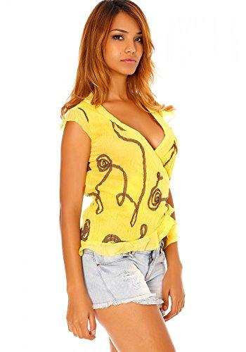 Dmarkevous Top-Maschera a forma di cuore, colore: giallo a motivi astratti. Giallo