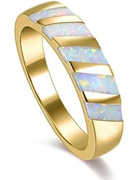 18K Gelb Vergoldet Regenbogen Opal Frauen Ring Hochzeit Band