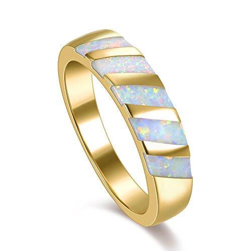 Hochzeit Damen Bands Gold (Kingwin Damen -  Vergoldet, 18 K  Basismetall, vergoldet mit 18 kt Baguetteschliff   Mehrfarbig Opale )