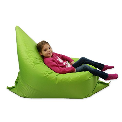 Kids BeanBag Large 6-Way Garden Lounger - GIANT Childrens Bean Bags Outdoor Floor Cushion LIME - 100% Water Resistant Test