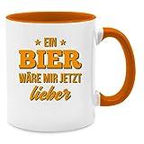 Tasse mit Spruch - Ein Bier wäre mir jetzt lieber - Unisize - Orange - Q9061 - Kaffee-Tasse inkl. Geschenk-Verpackung