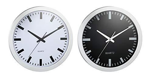 Topshop24you 1 x wunderschöne Wanduhr Bahnhof, Bahnhofsuhr, Durchmesser ca. 40 cm in schwarz/Silber oder Silber/weiß erhältlich