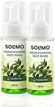 Amazon Brand - Solimo Neem Foaming Facewash 150ml - Sles & Paraben Free Formula (2n), 150 ml (Pack o