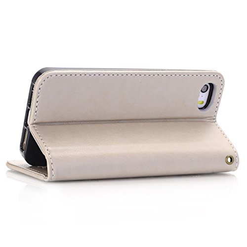 EKINHUI Case Cover Rose Blumen geprägtes Muster Premium PU Leder Brieftasche Case, Folio Flip Stand Case Cover mit Halter & Card Slots & Magnetverschluss für iPhone 5 & 5s & SE ( Color : Rosegold ) Gray