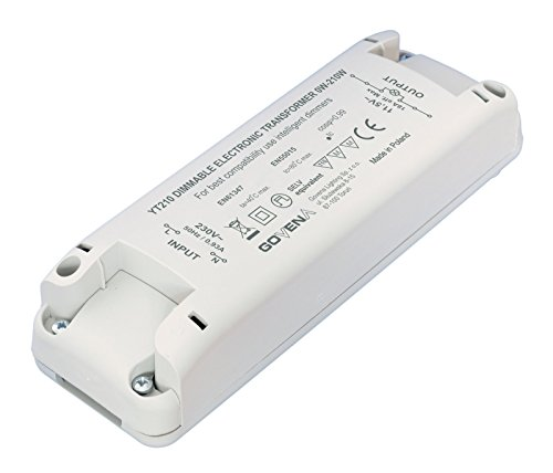 0W - 210W Dimmable Electronic Transformer YT210 - low voltage halogen (MR16, MR11, G4) and 12Vac LED lights; Elektronisch Dimmbar Transformator, Trafo -