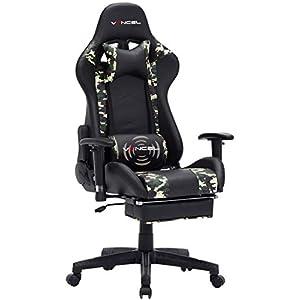 EAVANCEL Gaming Racing Stuhl Computer Schreibtischstuhl Ergonomisches Design mit breiten Rückenkissen, ausziehbahre Fußlehne und Massagegerät in Taillenbereich einfach mit den PC verknüpfen. (Tarnung)