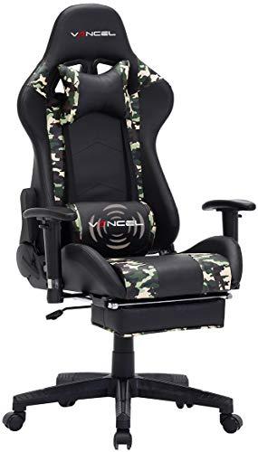 EAVANCEL Gaming Sedia da Gioco Scrivania Ufficio Computer Sedie da Girevole Ergonomico Massaggio Schienale Regolabile in Pelle PU (Camuffamento)