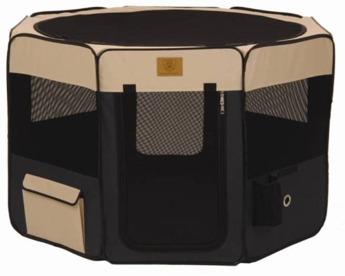 Precision Pet Soft Side Play Yard 46 in. x 46 in. x 28 in. Large Navy Tan by Precision Pet