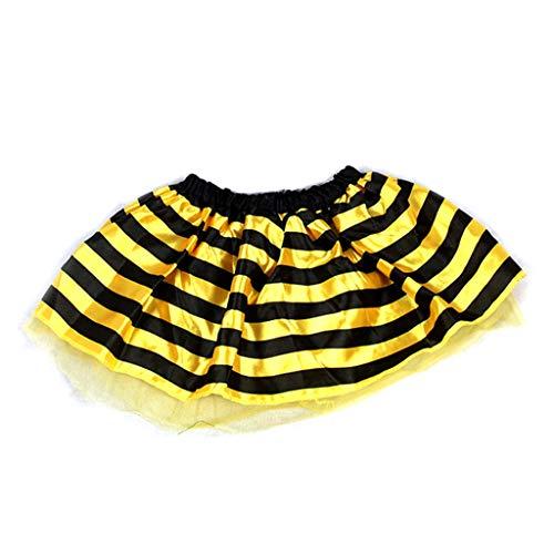 JAGETRADE Kinder Baby Halloween Kostüm Multi Layer Kontrast Farbe Gestreifte Honigbiene Marienkäfer Cosplay Dance Party Mini Tutu Rock Kleid 2-8 T