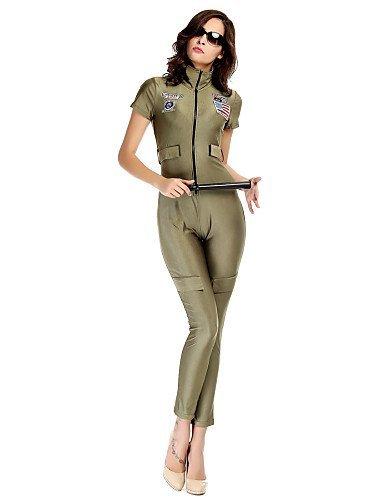 GSP-Combinaisons Aux femmes Manches Courtes Moulant/Décontracté Spandex/Polyester Moyen Micro-élastique army green-m