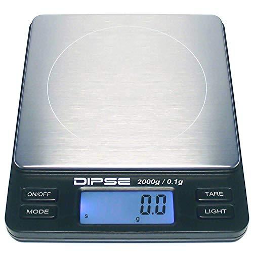 Dipse Digitalwaage TP-2000 Feinwaage die in 0,1 g Schritten präzise bis 2000g / 2kg wiegt, Taschenwaage, Feinwaage, Goldwaage mit extra-großer Wiegefläche
