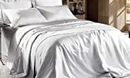 Hight Thread Count Solid Color Soft Silky Charmeuse Satin Luxury and Super Soft Bed Sheet Set