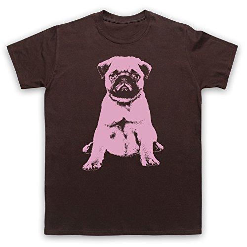 Pug Dog Cute Herren T-Shirt Braun