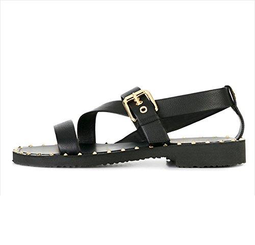 sandali degli uomini di estate, la personalità, la moda, i sandali di Roma, rivetti in pelle, scarpe da spiaggia degli uomini, il nero, US10 / EU43 / UK9 / CN44 US8/EU40/UK7/CN41