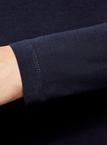 oodji Collection Femme T-Shirt en Coton à Manches Longues Bleu (7900N)