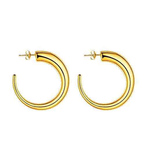 FOCALOOK Donna Orecchini a Cerchio Semicerchio Placcato Oro 18K, Stile Hip Hop, 45 mm Diametro, Colore Oro(Confezione Regalo)