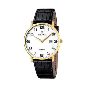 Festina - F16478-1 - Montre Homme - Quartz Analogique - Cadran Blanc - Bracelet Cuir Noir