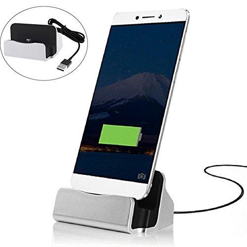 MaxKu Typ-C Dockingstation Ladestation (inkl. 1m Kabel) Desktop Dock Halter Ladegerät Ständer mit USB-C Anschluss für Huawei P20 / Huawei P20 Pro/Huawei P20 lite, Silber