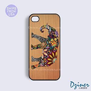 iPhone 6/6S Plus Tough Case - 5.5 inch model - Wood Colorful Elephant iPhone Cover (NOT REAL WOOD)