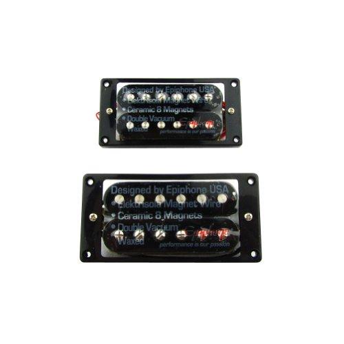 Musiclily Set da 52mm Ponte e 50mm Manico Humbucker Pickups per Chitarra Elettrica,Nero con Cornice Pickup Nero