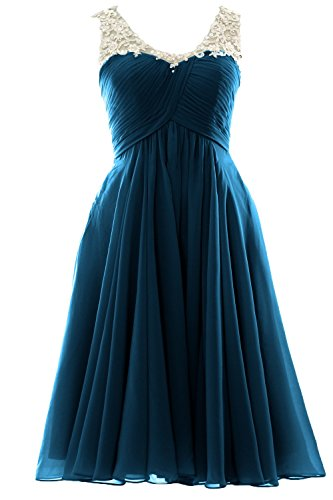 MACloth V Neck Beaded Lace Short Bridesmaid Dress Formal Evening Prom Gown Teal