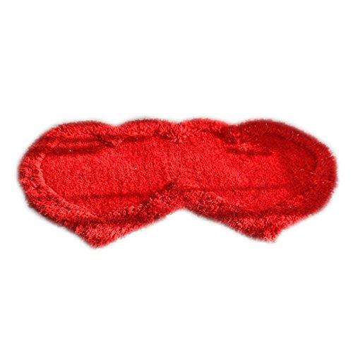 MagiDeal Matrimonio-habitación Alfombra Decoración Accesorios de Dormitorio Suave Cómodo Estilo Corazón - Rojo