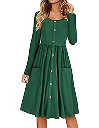 078195de2 Freestyle Primavera y Otoño Mujeres Midi Vestido con Botón Casual Cuello  Redondo Manga Larga A-Line Vestido de…