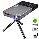 Mini Beamer,Android 7.1 Projektor mit Stativ Fernbedienung HDMI, 120 Zoll Wireless Home Theater Projektoren mit Auto Keystone-Korrektur