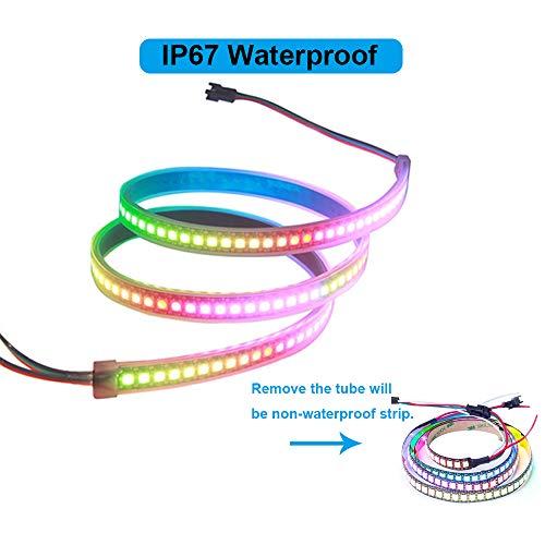 VIPMOON WS2812B 144 LEDs/Píxeles/m PWB Negro Tira de Píxeles de LED de Color Completo Direccionable Individual Color de Sueño Impermeable 3.2FT 1 m