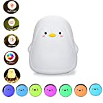 MOGOI Cute Night Light for Kids, Soft Silicone Penguin Baby Nursery Lamp with Touch Sensor, Portable and USB Rechargeable Color Changing Nightlight for Kids Toddler Baby Girls