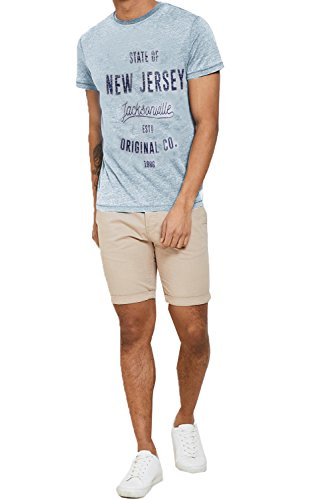 Threadbare Herren Blusen T-Shirt blau blau Gr. Größe - XXL - 121,92 cm-127 cm Brust, Corn Flower Blue -