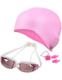 QUINERGYS Sweet Pink - Swimming Goggles+ Nose Clip+ Silicone Swim Cap+Ear Plugs, Swim Goggles Anti Fog UV Protection for Adult Men Women Youth Kids Child