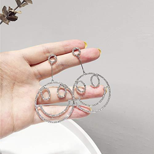 XAFXAL Damen Ohrringe,Mode Für Frauen Ohrringe Ohrringe Silber Farbe Crystal Lächeln Gesichtsform Ohrhänger Elegant Verlobung Hochzeit Schmuck