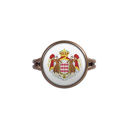 Mylery Ring mit Motiv Monaco Monte Carlo Flagge bronze 14mm
