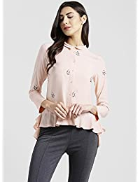 Zink London Womens Collared Embroidered Shirt