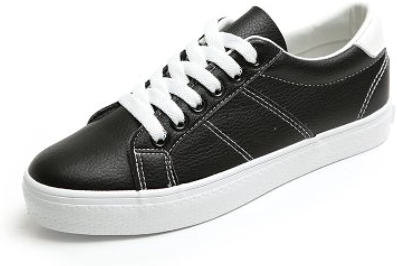 NGRDX&G Zapatos De Mujer Zapatillas Blancas De Mujer Cuero Transpirable Mezcla De Encaje Color, Negro, 5.5