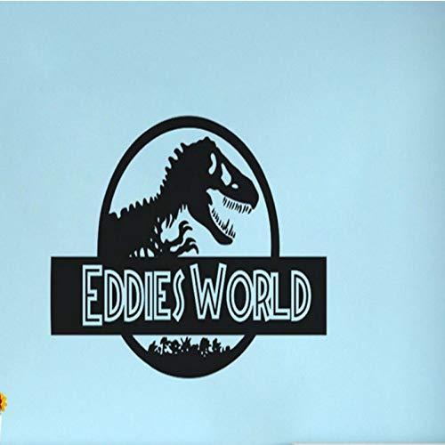 ljmljm Schwarz 38x57cm anpassbare Name Dinosaurier Welt kreative Kinderzimmer personalisierte dekorative Wandaufkleber