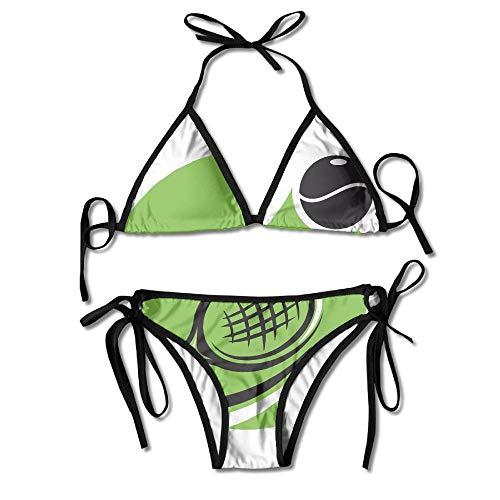 Tennis Court Tai Ji Art Bikini Women's Summer Swimwear Triangle Top Bikinis Swimsuit Sexy 2-Piece ()