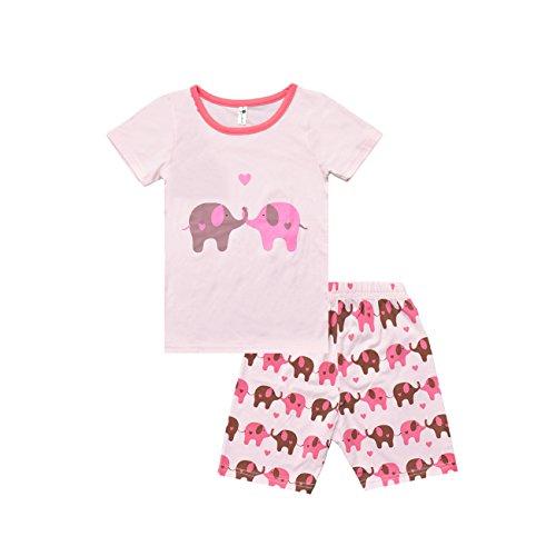 Little Sorrel Mädchen Pyjama Schlafanzüge Kleiner Elefant Rosa Herz Kurz Zweiteiliger Schlafanzug 2-7 Jahre