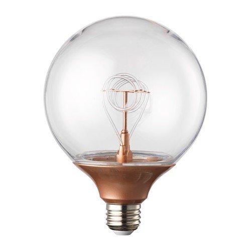 IKEA NITTIO LED-Lampe in kupferfarben; rund, E27