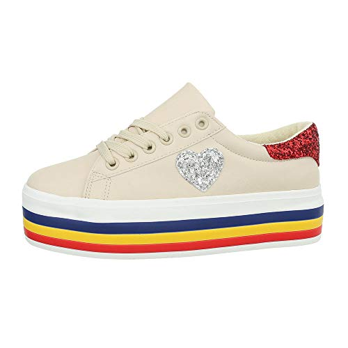 Ital-Design Damenschuhe Freizeitschuhe Sneakers Low Synthetik Beige Gr. 36 -