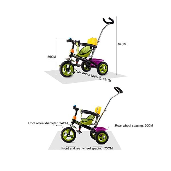 BGHKFF 3 In 1 Children's Hand Push Tricycle 1 To 6 Years 2-Point Safety Belt Children's Pedal Tricycle Rear Wheel With Brake Folding Footrests Kids Tricycle Maximum Weight 25 Kg,White  ★Children's tricycle material: environmentally friendly plastic material, suitable for children aged 1-6, maximum weight 25 kg ★Scientific design function: 360° awning; hand pusher can be adjusted; footrest can be folded; steering linkage; ★Safety design: golden triangle structure, safe and stable; guardrail; rear wheel double brake 5