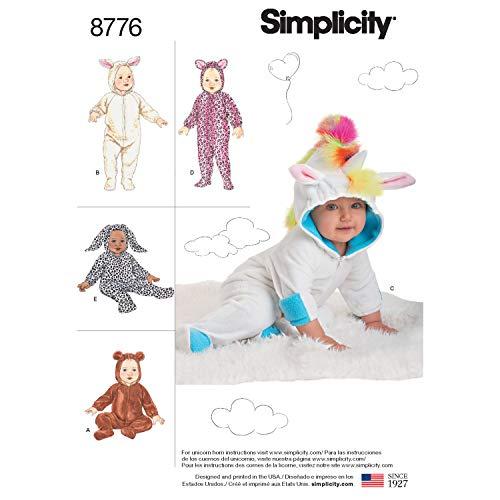 Simplicity 8776 Muster 8776 Baby-Kostüme, Papier, Weiß, A (XS-S-M-L)