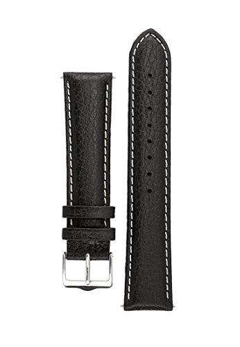 Signature Buffalo cinturino per orologio. Banda di ricambio per orologio. Pelle vera. Fibbia d'acciaio. (Nero con bianco, 20 mm -
