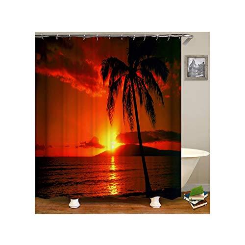 Epinki Duschvorhang Waschbar aus Polyester 3D Digitaldruck Strand Sonnenuntergang Palm Baum Muster Bad Vorhang Badewannenvorhang Orange mit 12 Duschvorhangringen für Badezimmer - 150x180CM