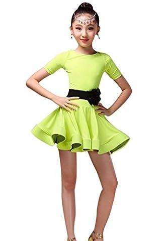Happy Cherry Robe Danse Latine Compétition Fillette Kids Dress Ballroom Robe Danse Contemporaine Kids Danse Zumba Rumba Tango Chacha Jupette Robe avec Ceinture en Spandex 8-9ans Fluo