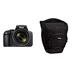 Nikon Coolpix P900 Digitalkamera (16 Megapixel, 83-fach optischer Megazoom, 7,5 cm RGBW-Display mit 921.000 Pixel, Full-HD-Video, Wi-Fi, GPS, NFC) schwarz & AmazonBasics SLR-Schultertasche (schwarz)