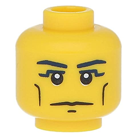 LEGO® Minifig, Head Blue Eyebrows, Vertical Cheek Lines, Yellow