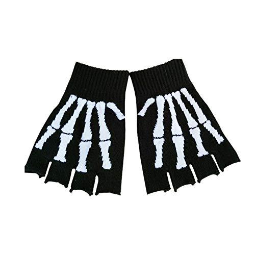 Greifer Kostüm - Zonfer 1 Paar halber Finger-Skeleton Knochen-Schädel-Greifer-Handschuh Kostüm Knitting Magie Wärmer Handschuhe