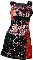 #682 Damen Kleid Patchwork Etuikleid Abendkleid Schwarz Tunika Winter Kleid Beige 34 36 38 40 42